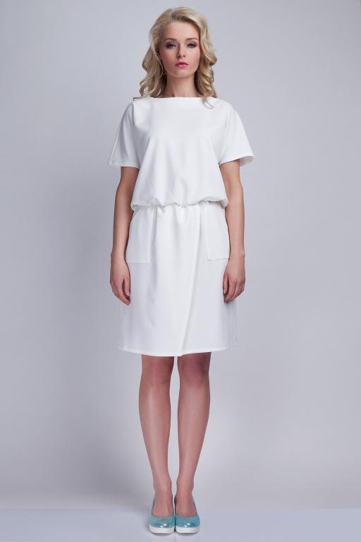 Dress with pockets, SUK117 ecru