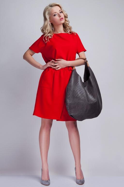 Sukienka z kieszeniami, SUK117 czerwony