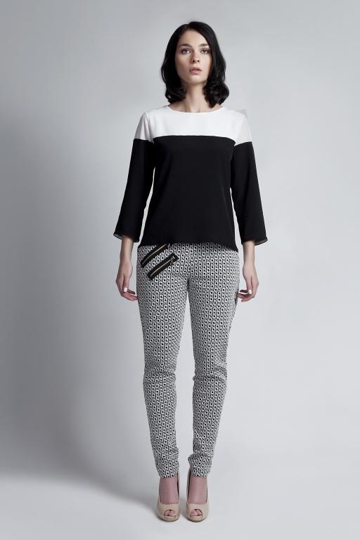 Blouse with 3/4 sleeves, BLU117 ecru/black