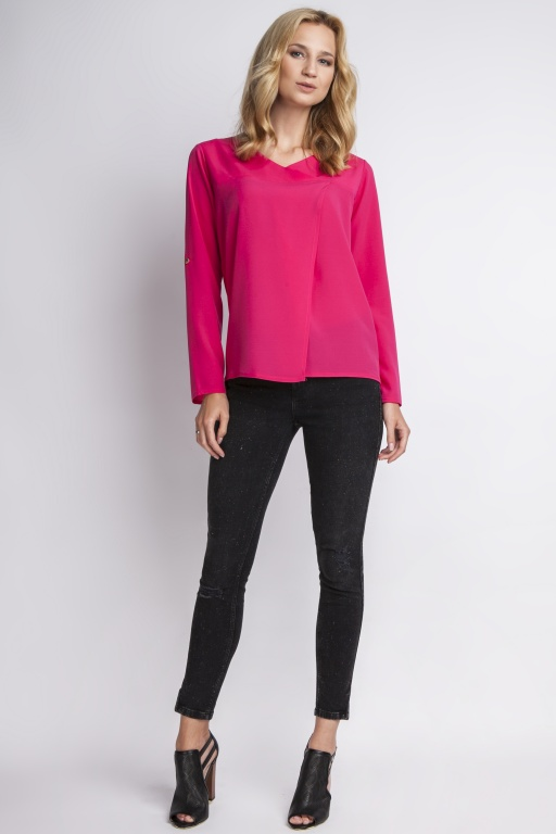 Blouse buttoned sleeves, BLU118 fuchsia