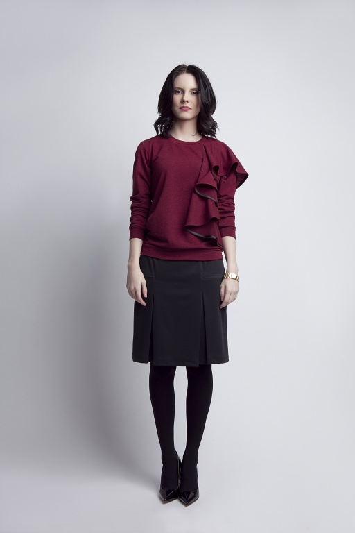 Blouse with flounce, BLU119 burgundy