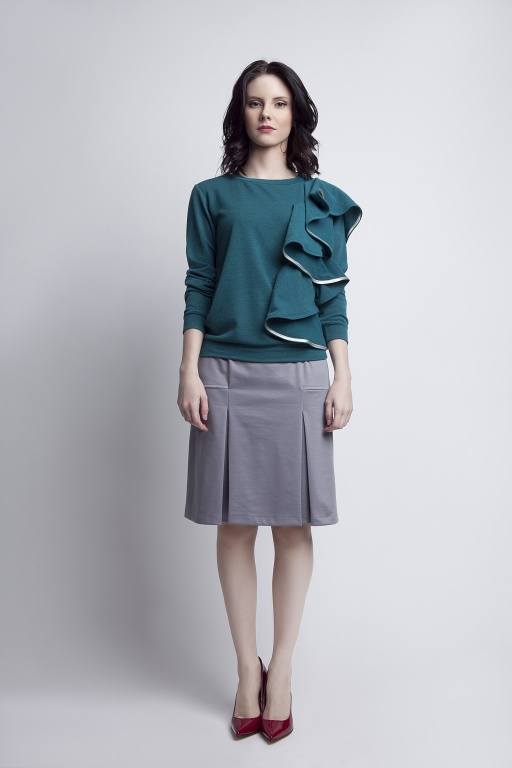 Blouse with flounce, BLU119 green