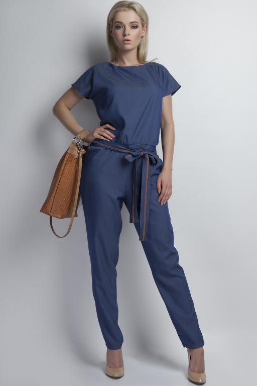 Jeans jumpsuit with belt, KB102 jeans