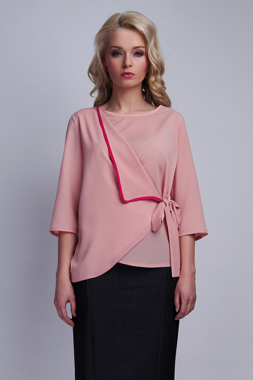 Tied blouse, BLU122 pink