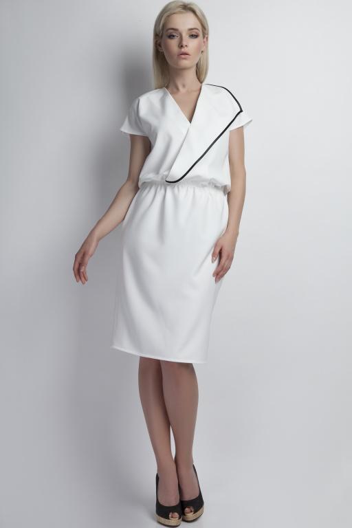 Kopertowa sukienka, SUK119 ecru