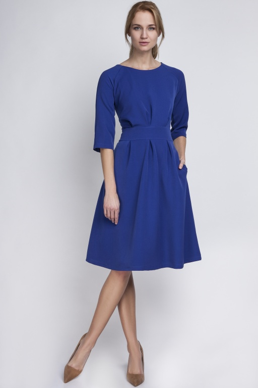 Dress with a flared bottom, SUK122 indigo