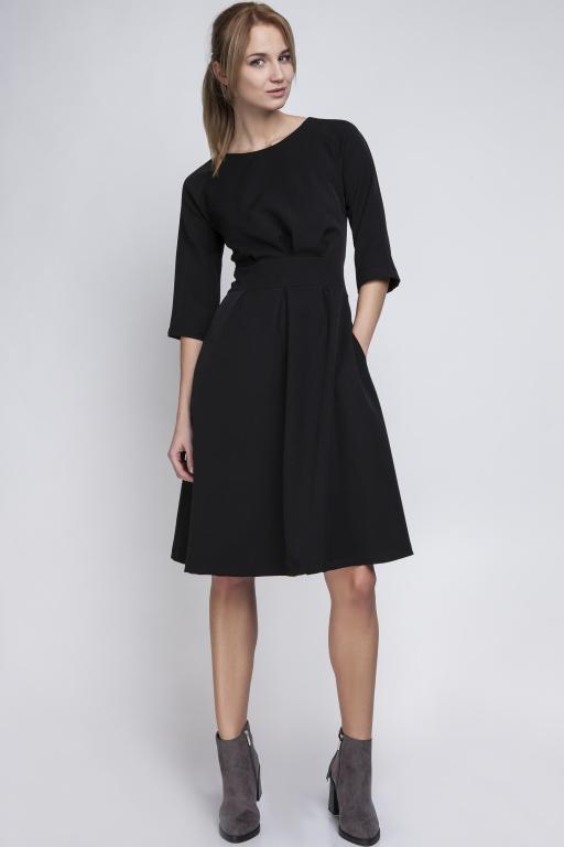 Dress with a flared bottom, SUK122 black