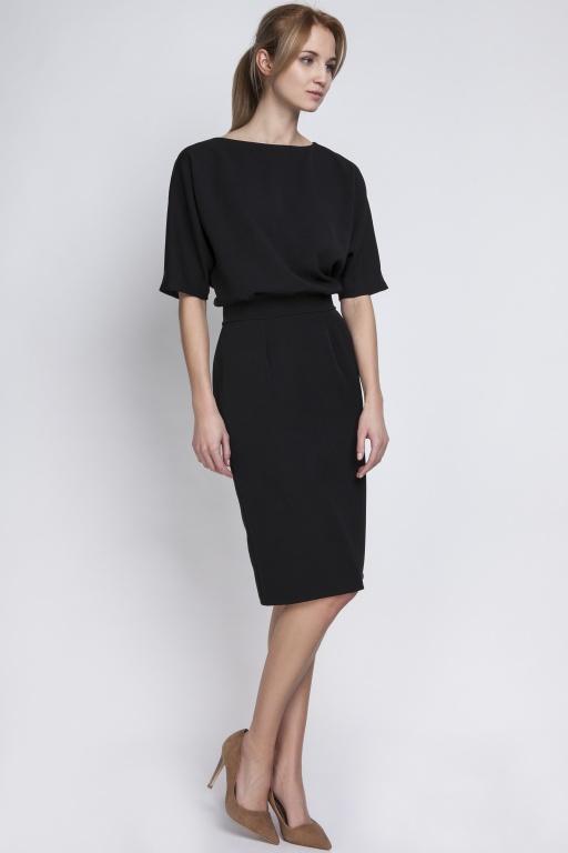 Sukienka dopasowana dołem, SUK123 czarny