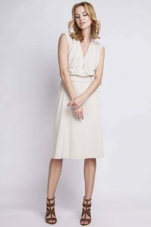 Sukienka w stylu retro, SUK125 beż