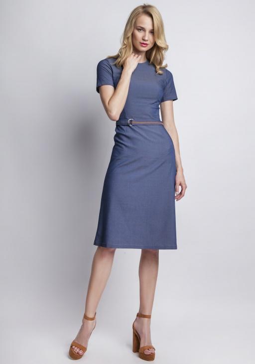 Jeansowa sukienka z krótkim rękawem, SUK127 jeans