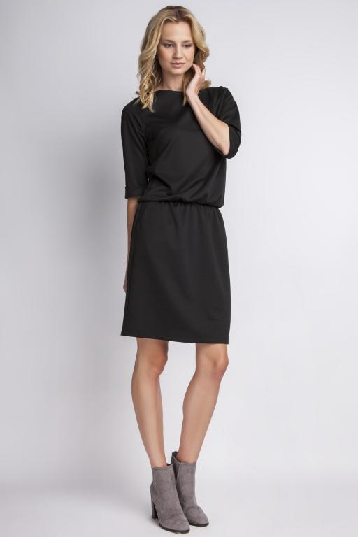Prosta sukienka dresówkowa SUK129 czarny