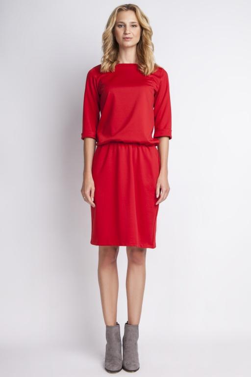 Prosta sukienka dresówkowa, SUK129 czerwony