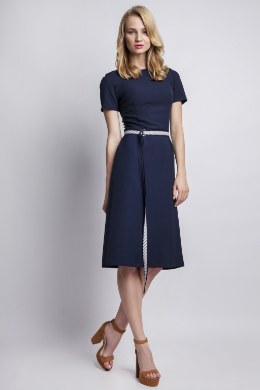 Dress with short sleeves, SUK128 navy