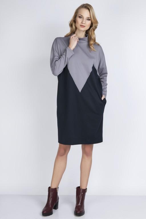 Dwukolorowa sukienka, SUK134 szary