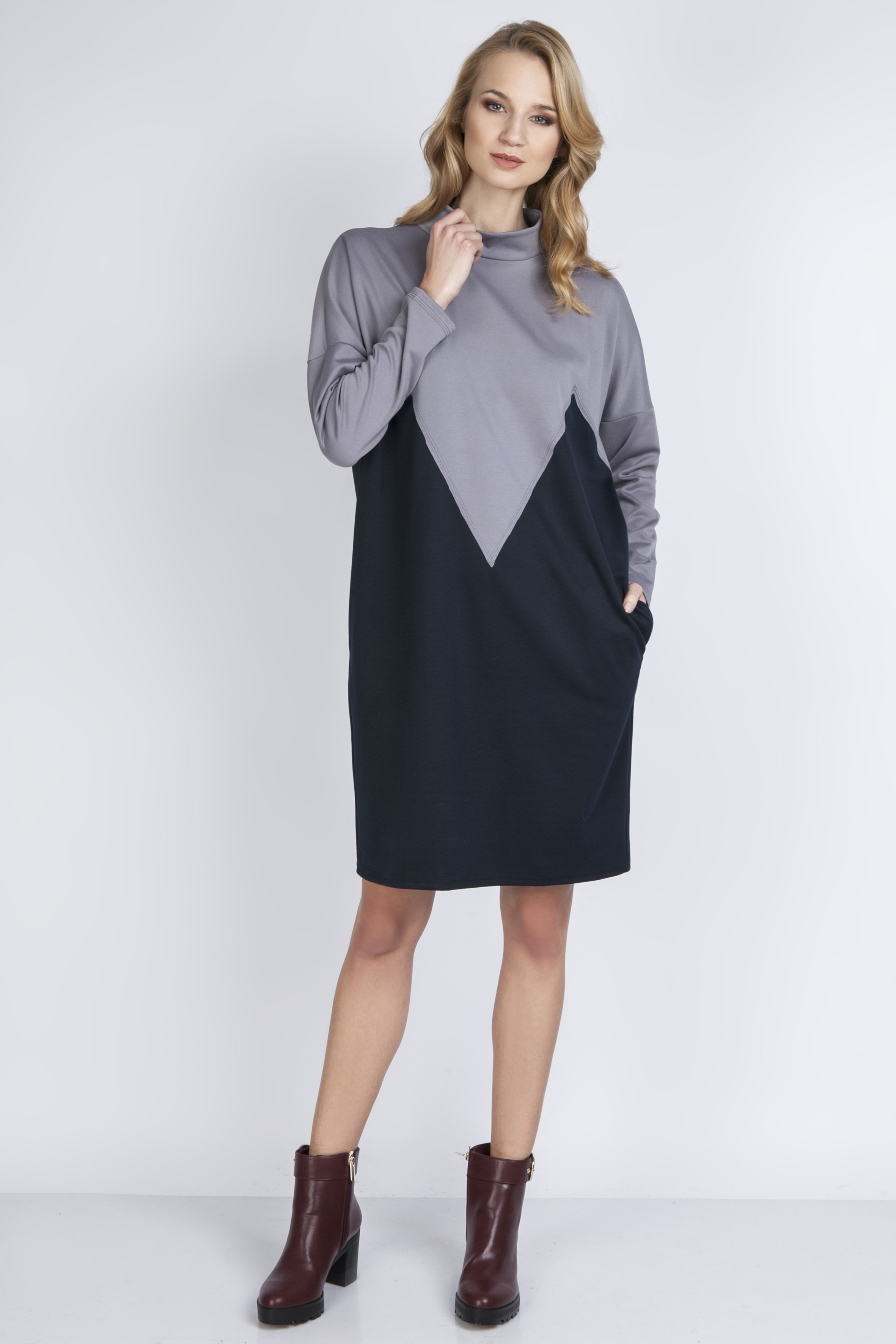2665d0e598c1e3 Two-color dress, SUK134 gray - Lanti