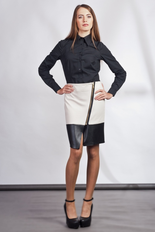 Asymmetrical Skirt, SP103 ecru