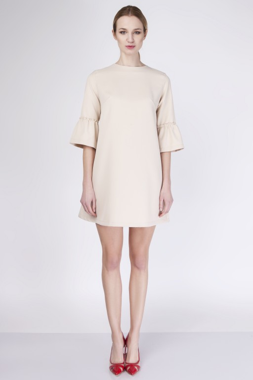 Coquettish, trapezoidal dress, SUK136 beige