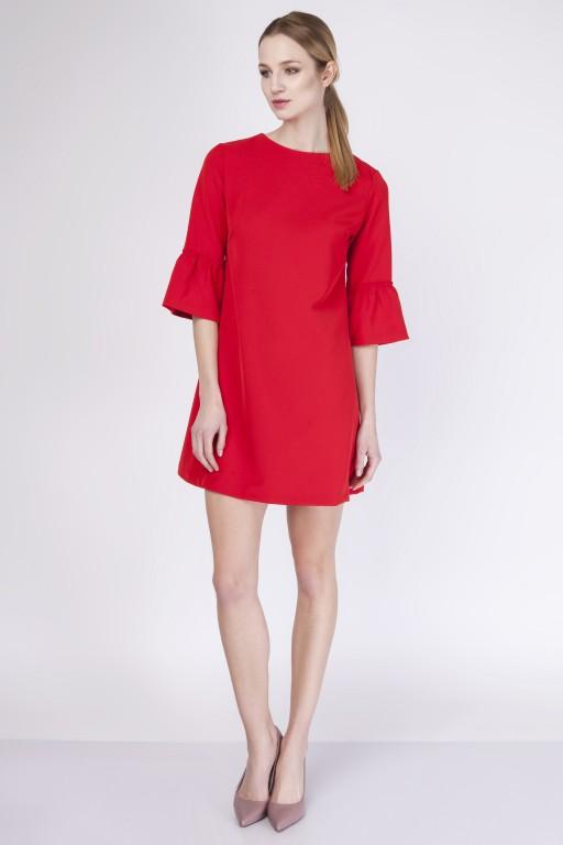 Trapezowa sukienka, SUK136 czerwony