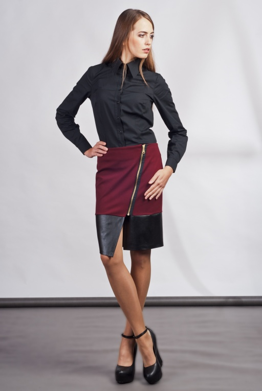 Asymmetrical skirt, SP103 burgundy