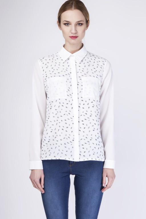 Zwiewna koszula, K103 piórka/ecru