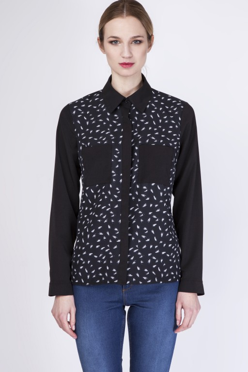 Shirt with pockets, K103 feather/black