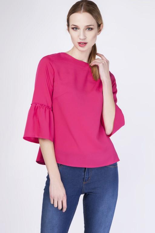 Fabulous blouse with frill, BLU128 fuchsia