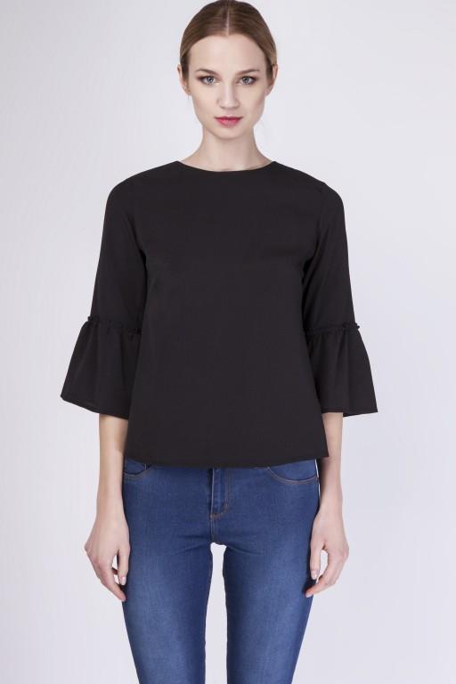 Fabulous blouse with frill, BLU128 black