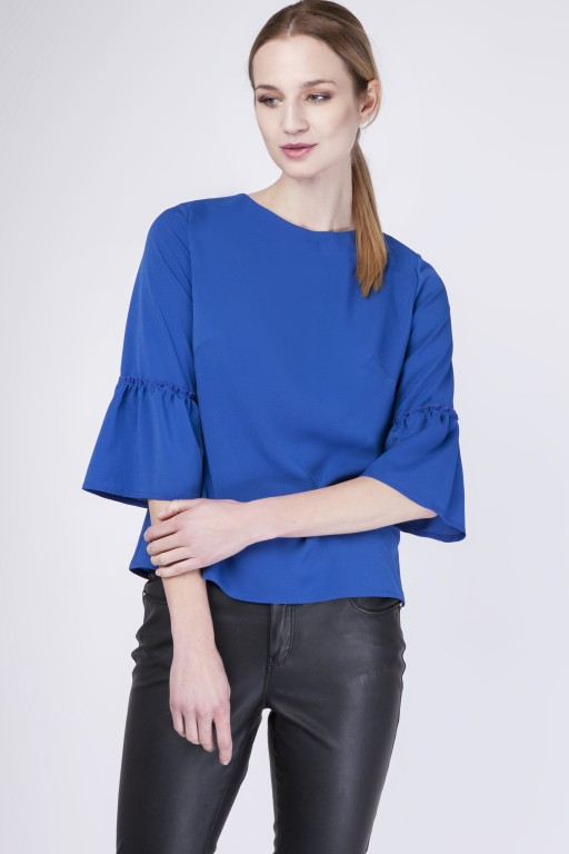 Fabulous blouse with frill, BLU128 indigo