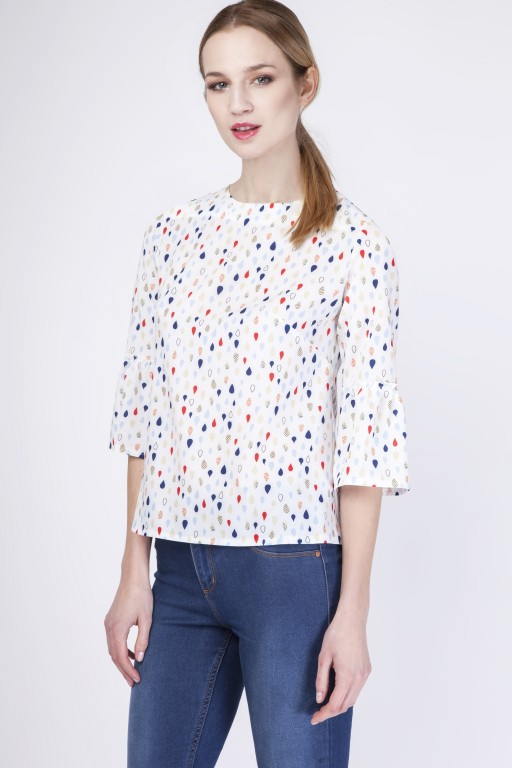Fabulous blouse with frill, BLU128 drops