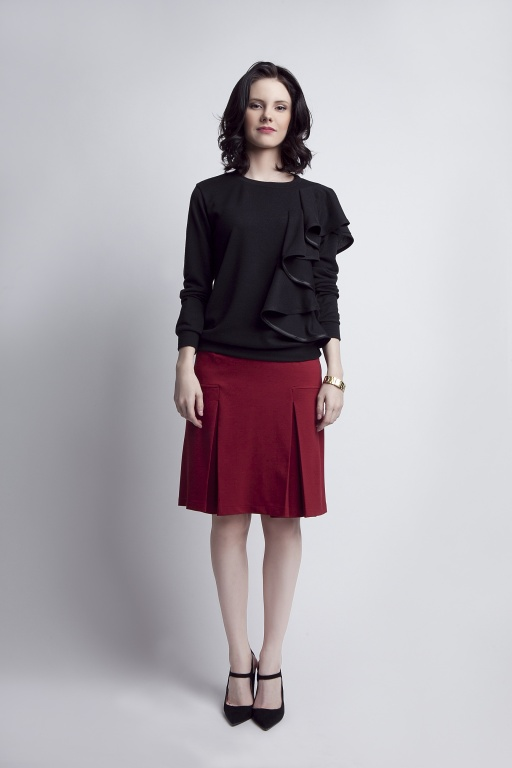 Burdundy pleated skirt, SP107 burdundy