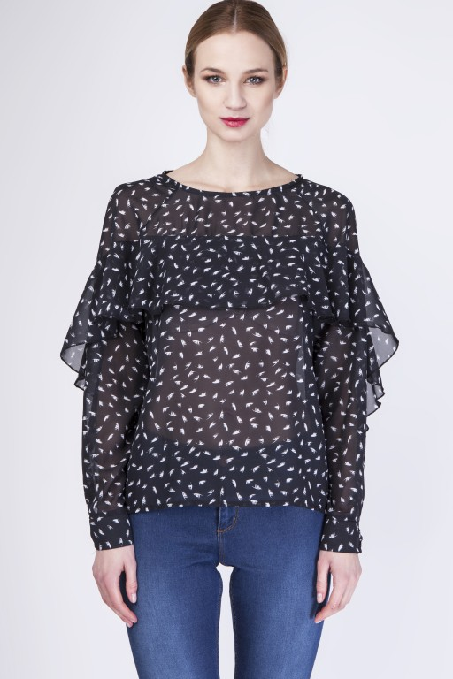 Phenomenal blouse, BLU130 feather/black