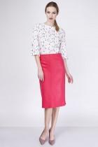 Elegant knee-length skirt, SP114 red