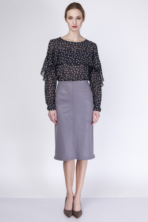 Elegant knee-length skirt, SP114 gray