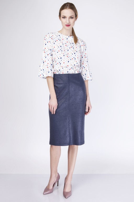 Elegant knee-length skirt, SP114 navy