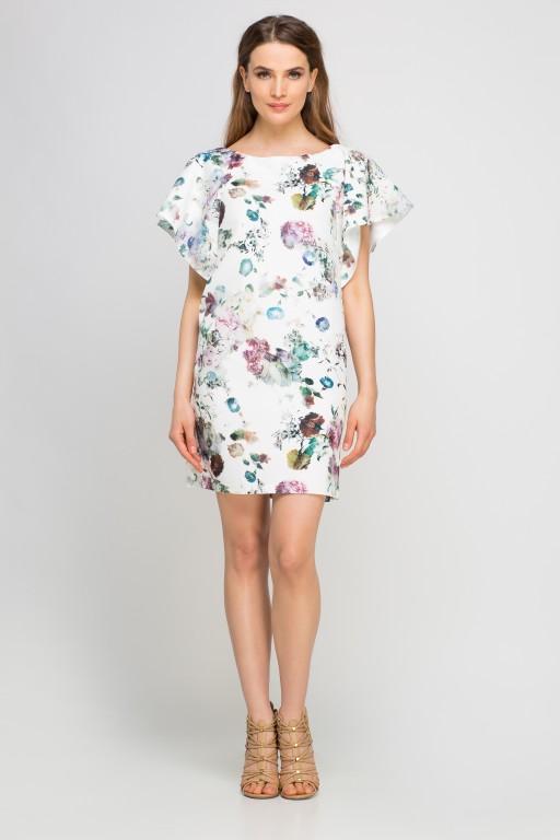 Sukienka z oryginalnymi rękawami, SUK145 kwiaty