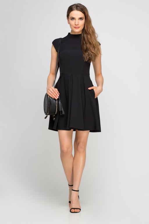 Dress with standing collar, SUK143 black
