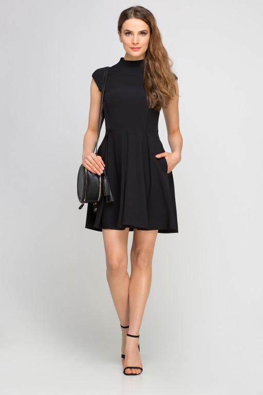 Sukienka ze stójką, SUK143 czarny