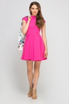 Dress with standing collar, SUK143 fuchsia