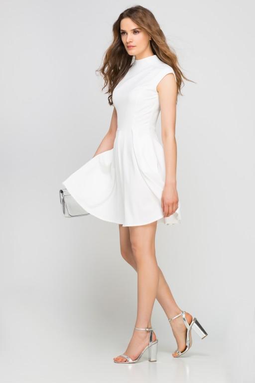 Dress with standing collar, SUK143 ecru