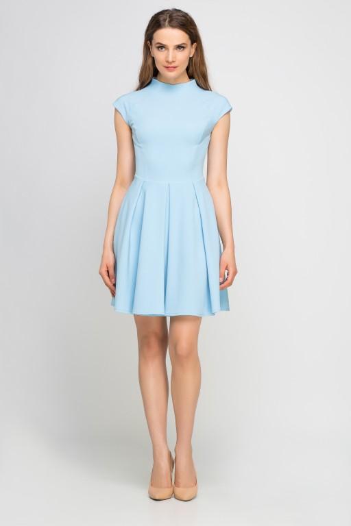 Sukienka ze stójką, SUK143 błękit