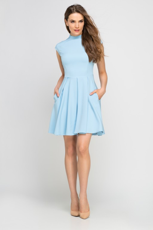 Dress with standing collar, SUK143 light blue