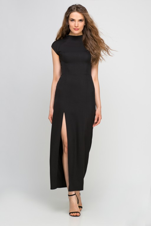 Sukienka maxi z rozcięciem, SUK140 czarny