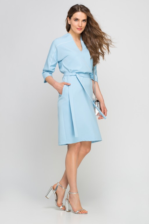 Dress with piping, SUK141 light blue