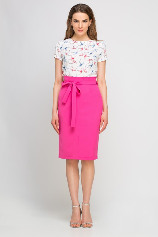 Pencil skirt with sash, SP115 fuchsia