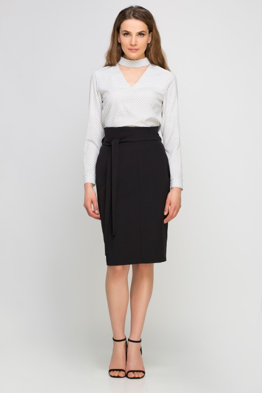 Pencil skirt with sash, SP115 black