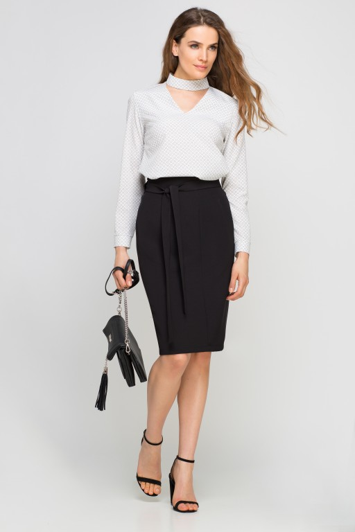 Pencil skirt with sash, SP115 black