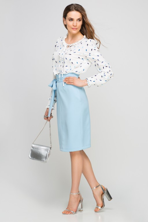 Pencil skirt with sash, SP115 light blue