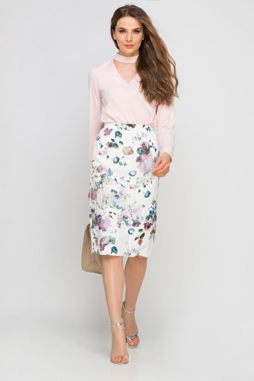 Pencil skirt with sash, SP115 flowers
