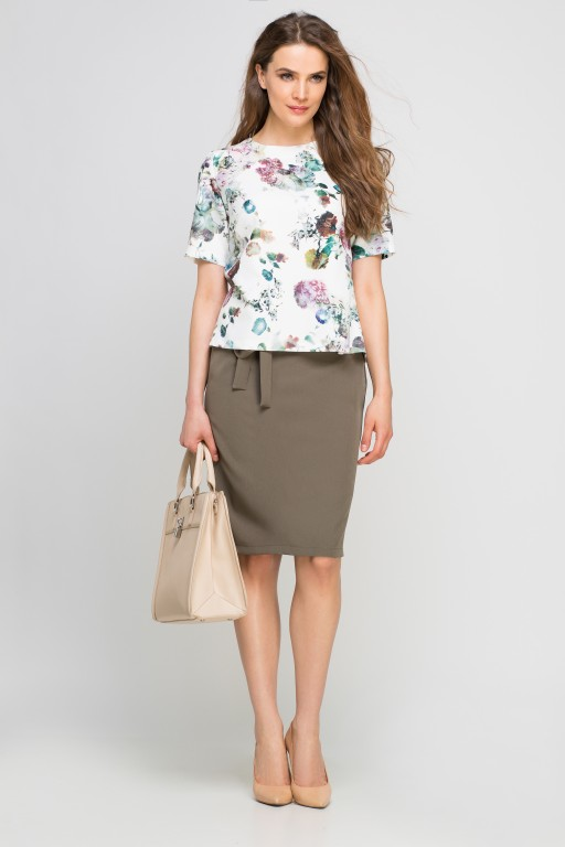 Pencil skirt with sash, SP115 khaki