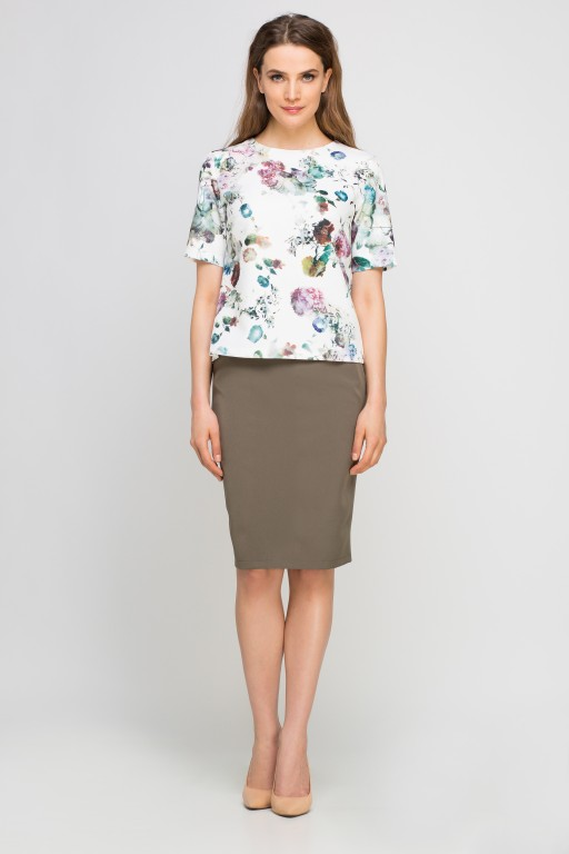 Elegant blouse, BLU135 flowers